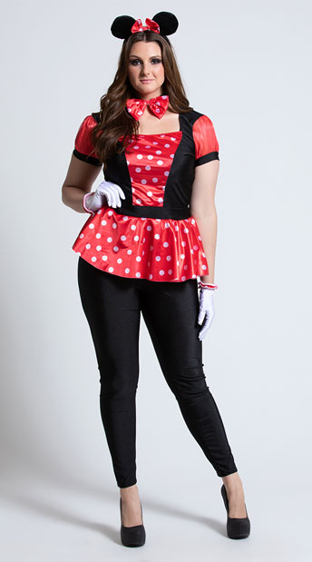 Plus Size Polka Dot Mouse Costume - As Shown