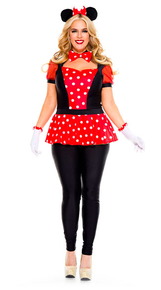 Plus Size Polka Dot Mouse Costume, plus size sexy mouse costume - Yandy.com