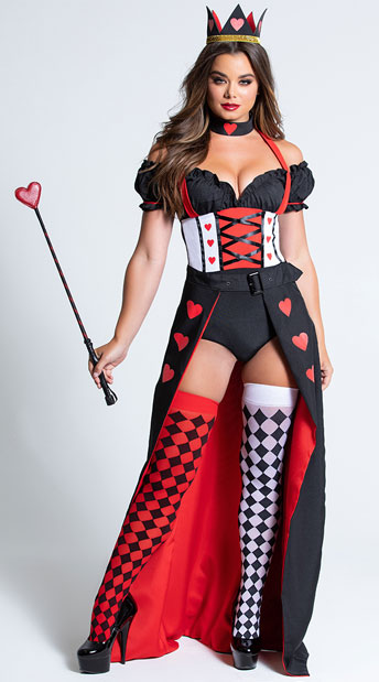 Enchanting Royal Heart Queen Costume - As Shown