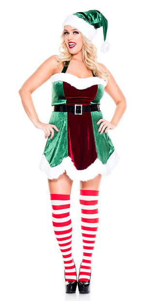 Plus Size North Pole Elf Costume - As Shown