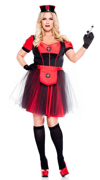 Plus Size Night Nurse Costume - As Shown