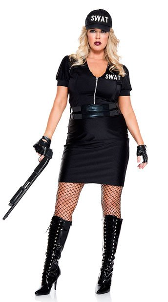 Plus Size SWAT Agent Costume - As Shown