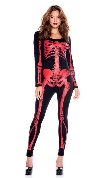 Hellacious Skeleton Catsuit - As Shown