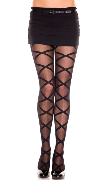 Criss Cross Pantyhose - Black