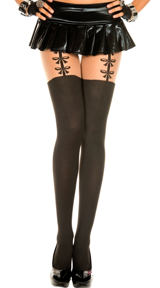 Opaque Pantyhose With Bow Suspenders - Black/Beige
