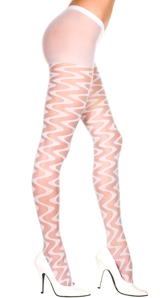 Sheer Pantyhose With Wave Pattern - White