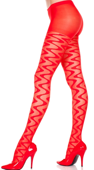 Sheer Pantyhose With Wave Pattern - Red