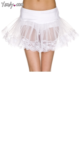 Double Layer Lace Trimmed Petticoat - White