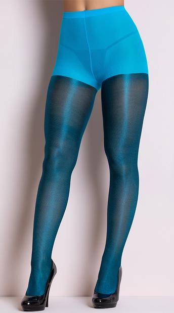 Shiny Metallic Pantyhose - Turquoise
