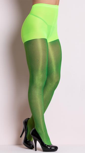 Shiny Metallic Pantyhose - Neon Green