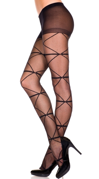 Sheer Pantyhose With Criss Cross Chains, Criss Cross Sheer Pantyhose, Sheer Pantyhose With Design