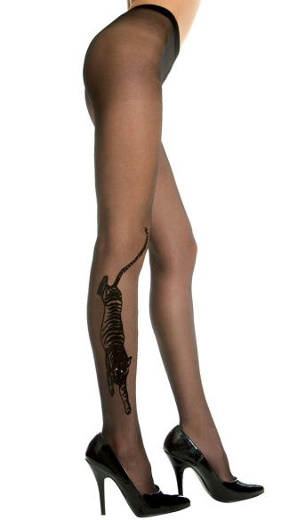 Sheer Pantyhose With Tiger Print - Black