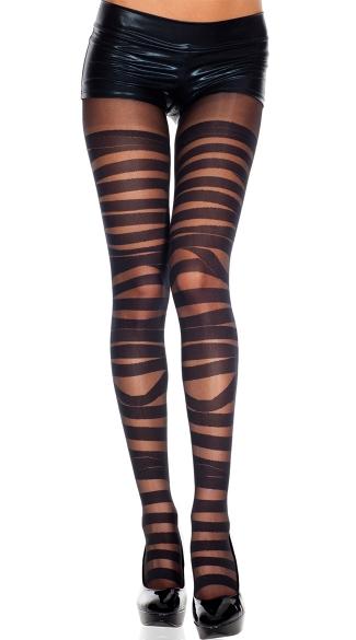 Sheer Bandage Pantyhose - Black