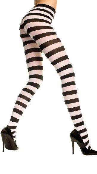 Opaque Wide Striped Tights - Black/White
