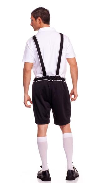 Mens Lederhosen Costume - Black/White