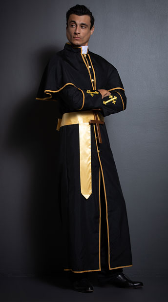 Men's Deluxe Priest Costume - As Shown
