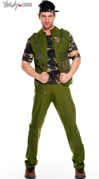 Men's Army General Costume - As Shown