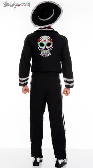 Men's Day Of The Dead Mariachi Costume - As Shown