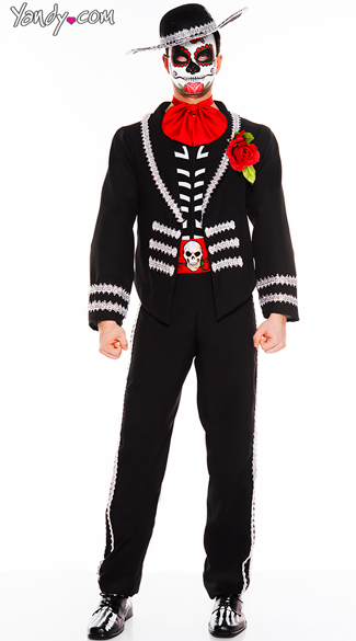Men\'s Day Of The Dead Mariachi Costume, Mexican Day Of The Dead Costume, Men\'s Mariachi Halloween Costume