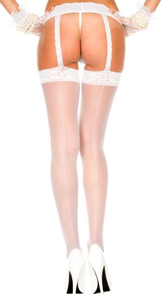 Backseam Sheer Stockings With Garter Belt - White
