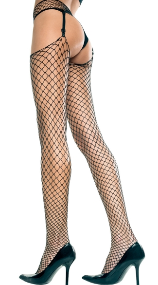 Diamond Net Thigh High Stockings With Garter Belt - Black