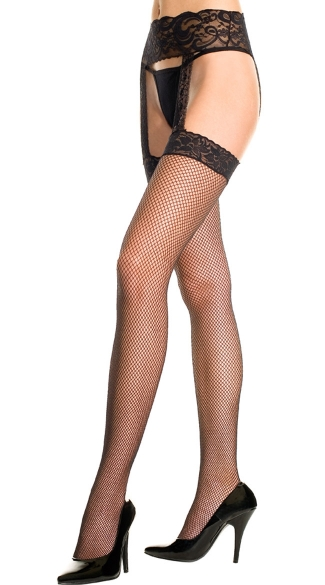 Fishnet Thigh High Stockings With Garter Belt, Fishnet Stockings With Lace Garter Belt, gartered stockings - Yandy.com