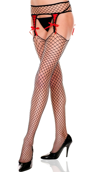 Fishnet Lace Up Garterbelt and Stockings - Black/Red