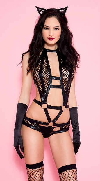 Frisky Kitty Bodysuit, Black Cat Wet Look Teddy - Yandy.com