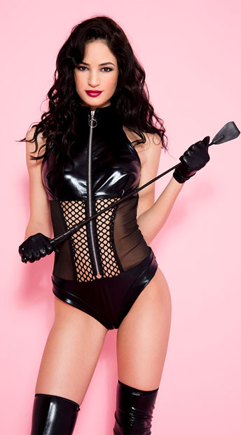 Naughty Wet Look Teddy, Black Wet Look Teddy - Yandy.com