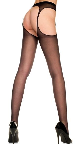 Sheer Suspender Pantyhose - Black
