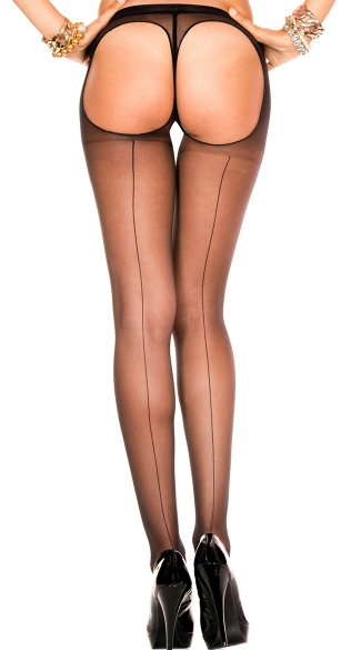 Backseam Sheer Thong Back Pantyhose, Sheer Backseam Thong Back Pantyhose, Sheer Pantyhose