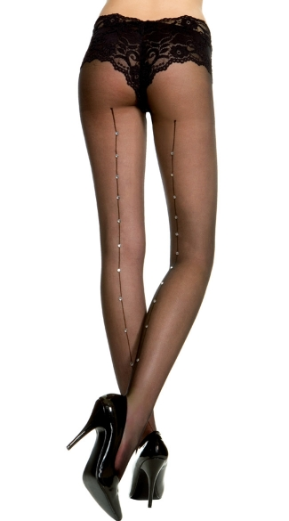 Rhinestone Sheer Pantyhose, Sheer Pantyhose With Rhinestone Backseam, Lace Top Sheer Pantyhose