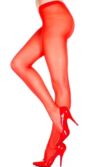 Sheer Pantyhose With Ankle Rhinestone - Red