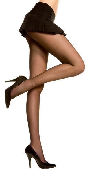 Sheer Pantyhose With Ankle Rhinestone - Black