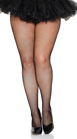 Plus Size Classic Seamless Fishnet Pantyhose - Black