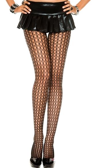 Spandex Crochet Pantyhose - Black