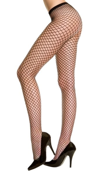 Plus Size Seamless Diamond Net Pantyhose - Black