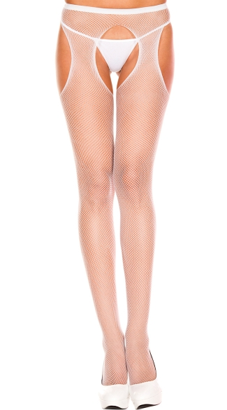 Fishnet Suspender Pantyhose - White