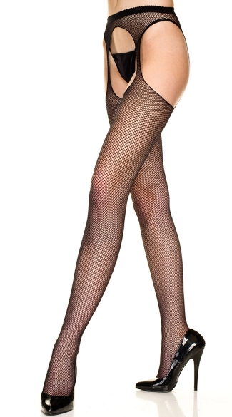 Plus Size Fishnet Suspender Pantyhose - Black