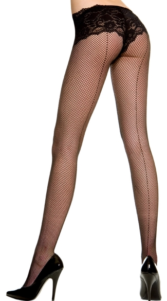 Plus Size Fishnet Pantyhose With Backseam - Black