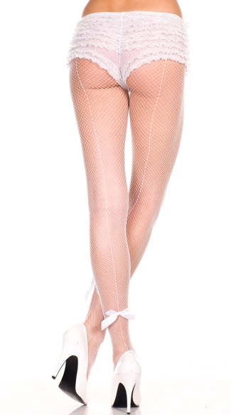 Satin Bow Seamed Fishnet Pantyhose - White