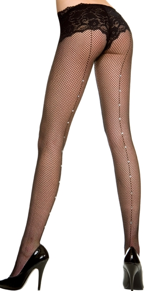 Fishnet Pantyhose With Rhinestone Backseam, Fishnet Stockings With Rhinestone Backseam, Fishnet Rhinestone Pantyhose