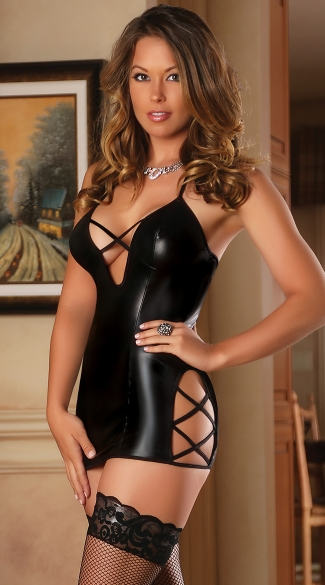 Faux Leather Criss Cross Chemise, Black Wet Look Chemise ...