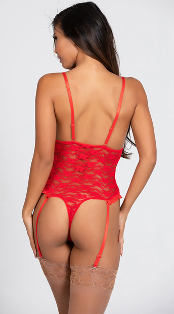 Luv Lace Open Cup Crotchless Teddy - Red