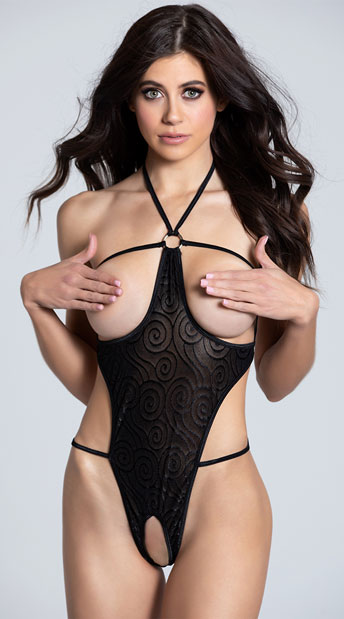 Cupless and Crotchless Mesh Teddy - Black
