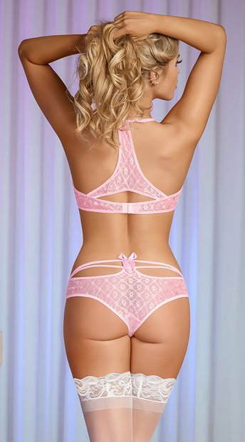 Pearly Pink and Silver Lace Bra Set - Pink