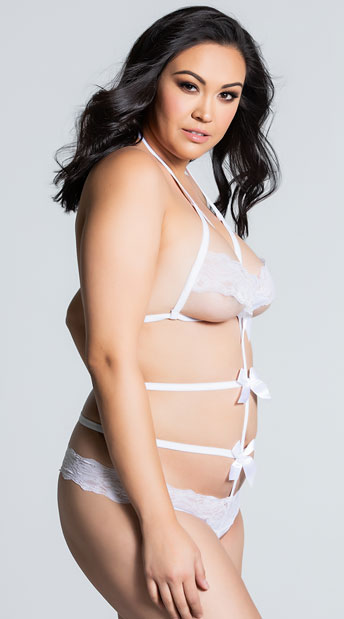 Plus Size Lace Band Bow Teddy - White