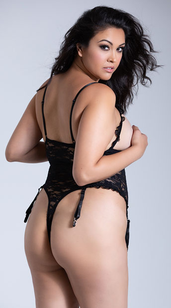 Plus Size Luv Lace Open Cup Crotchless Teddy - Black