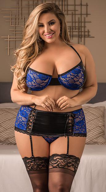 Plus Size Exposed Blue Lace Garter Set - Blue