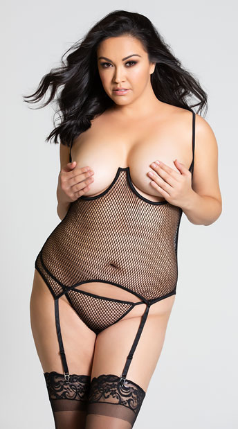 Plus Size Cupless Fishnet Teddy - Black